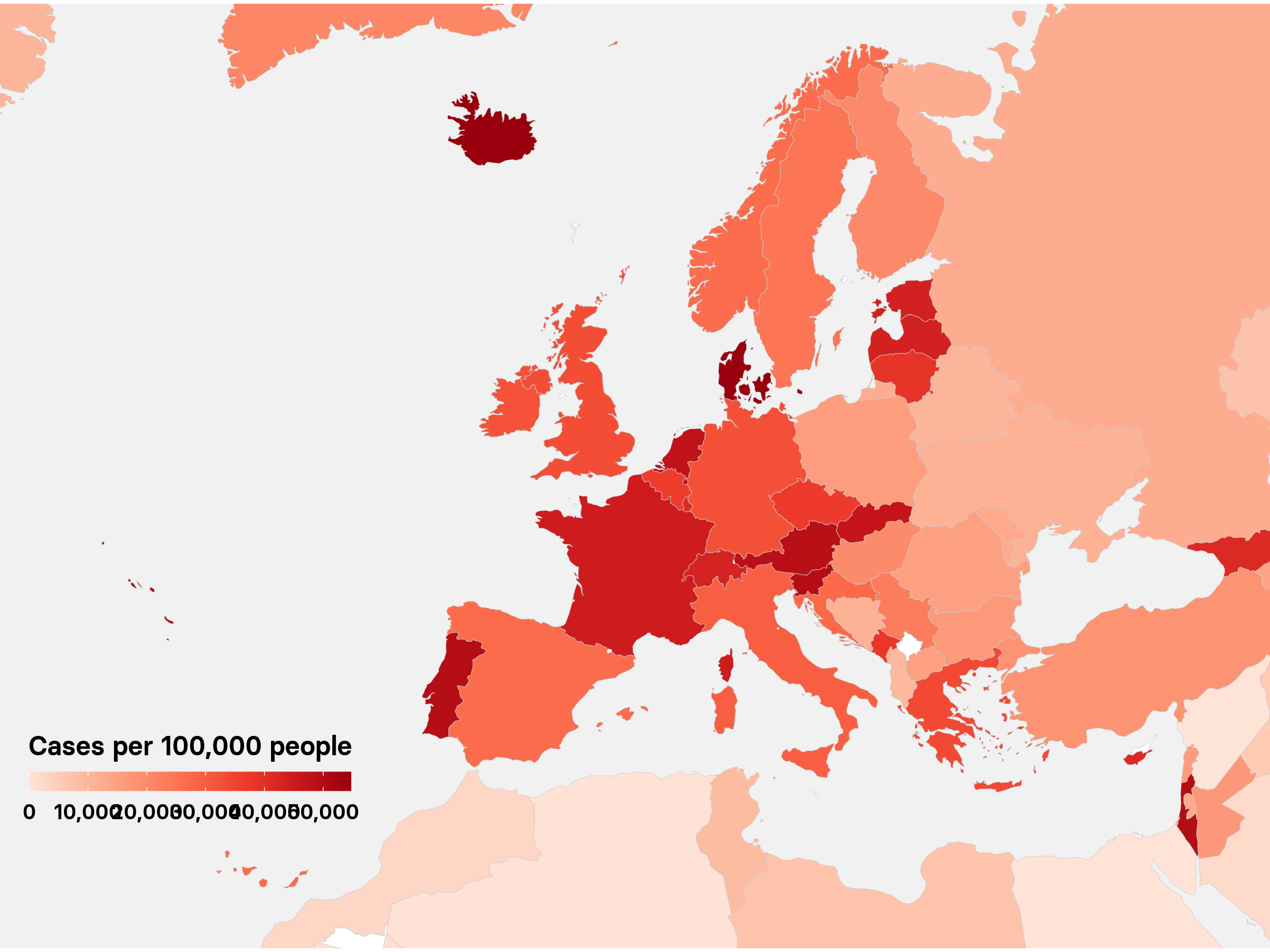 Europe cases map