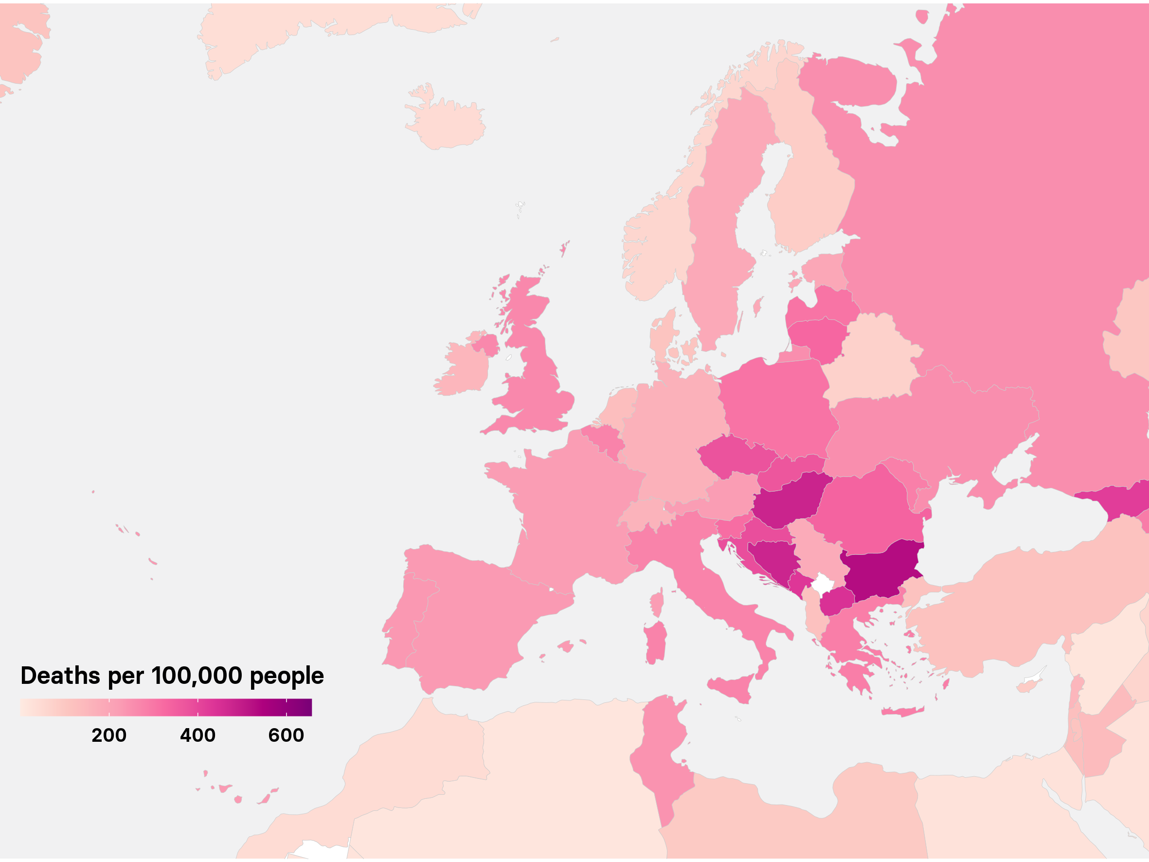 Europe deaths map