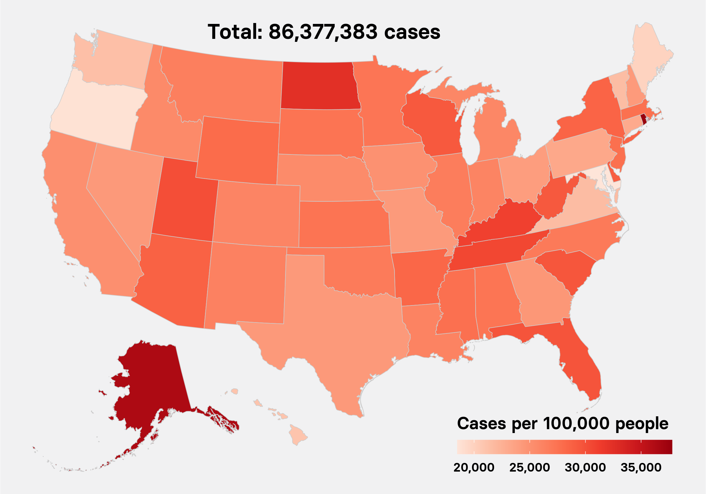 US cases map