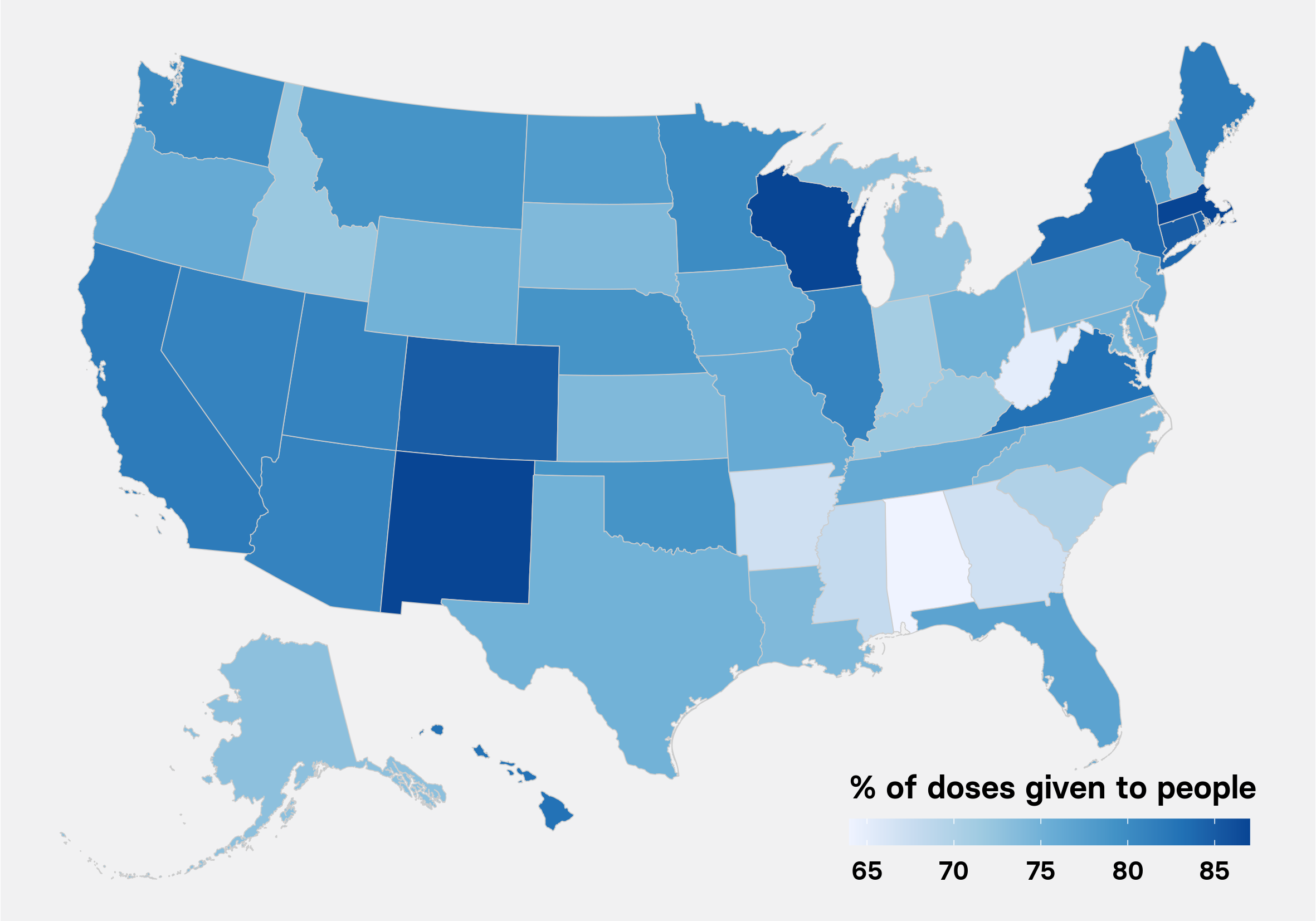 Perecnt of doses given to people by state