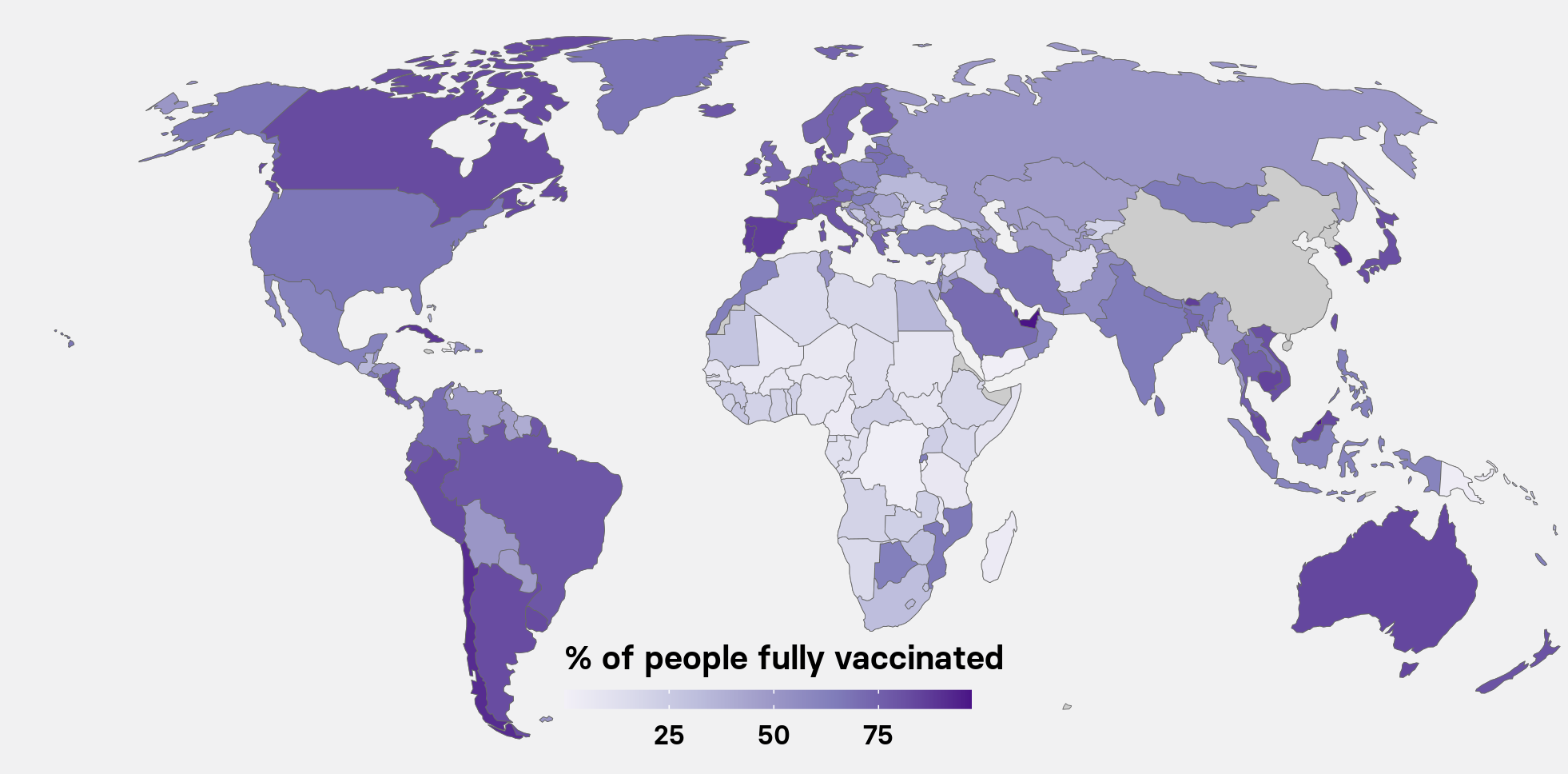 Vaccination rate per 100 people worldwide